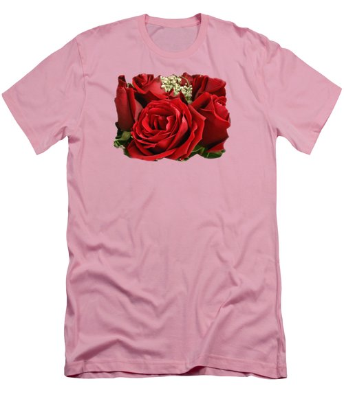Men's T-Shirt (Slim Fit) featuring the photograph A Bouquet Of Red Roses by Sue Melvin