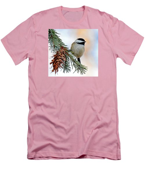 A Christmas Chickadee Men's T-Shirt (Slim Fit) by Rodney Campbell