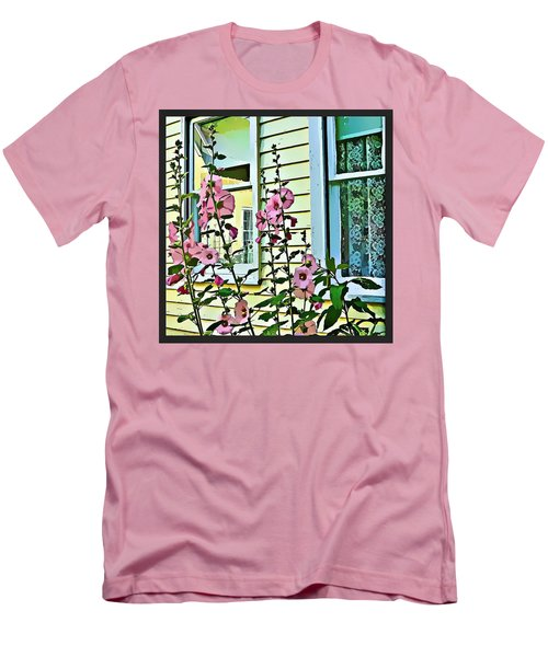 Men's T-Shirt (Slim Fit) featuring the digital art A Holly Hocks Morning by Mindy Newman