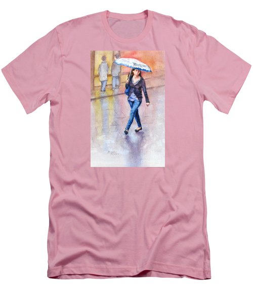 Men's T-Shirt (Slim Fit) featuring the painting A Walk In The Rain by Bonnie Rinier