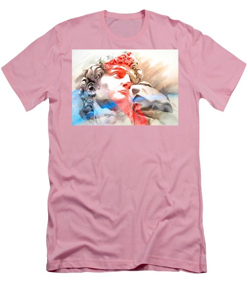 Men's T-Shirt (Slim Fit) featuring the painting Abstract David Michelangelo 2 by J- J- Espinoza