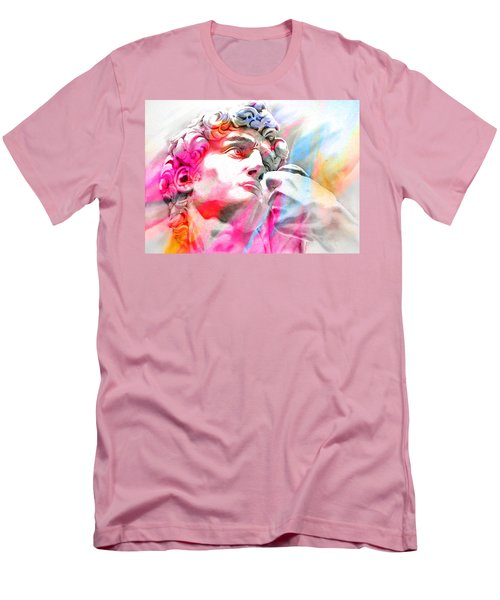 Men's T-Shirt (Slim Fit) featuring the painting Abstract David Michelangelo 4 by J- J- Espinoza