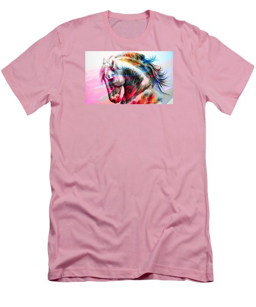 Men's T-Shirt (Slim Fit) featuring the painting Abstract White Horse 45 by J- J- Espinoza