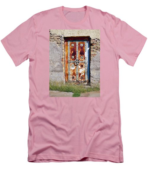 An Old Rusty Door In Katakolon Greece Men's T-Shirt (Slim Fit) by Richard Rosenshein