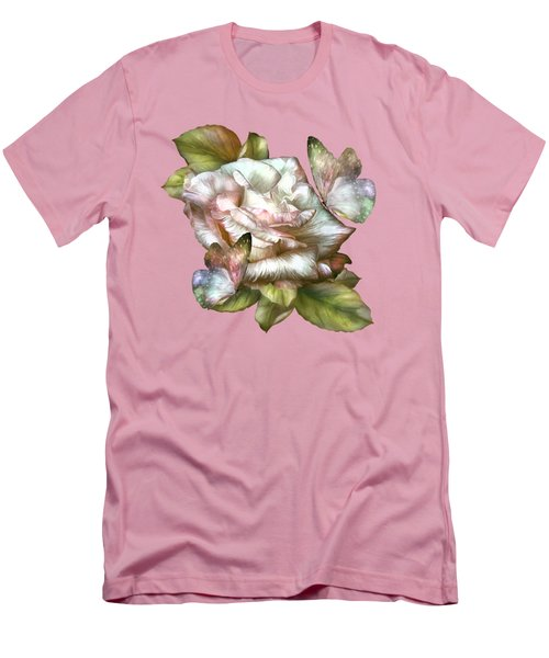 Men's T-Shirt (Slim Fit) featuring the mixed media Antique Rose And Butterflies by Carol Cavalaris
