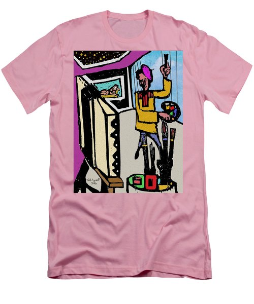 Men's T-Shirt (Slim Fit) featuring the digital art Artiste In The Studio by Ted Azriel