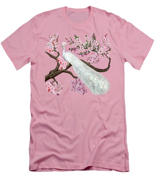 Cherry Blossom Peacock Men's T-Shirt (Athletic Fit)