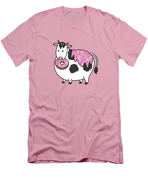Funny Fat Holstein Cow Sprinkle Doughnut Men's T-Shirt (Slim Fit) by Crista Forest