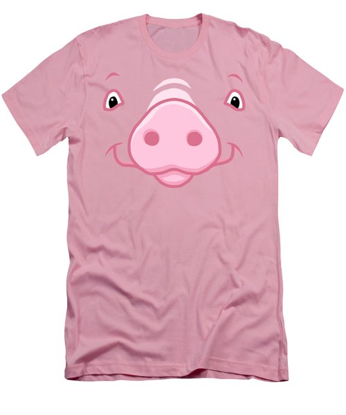 Cute Happy Pink Pig Big Face Men's T-Shirt (Athletic Fit)