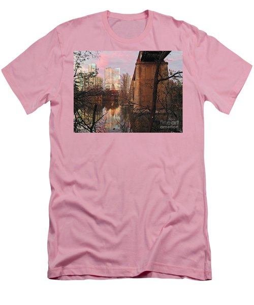 Austin Hike And Bike Trail - Train Trestle 1 Sunset Triptych Middle Men's T-Shirt (Athletic Fit)