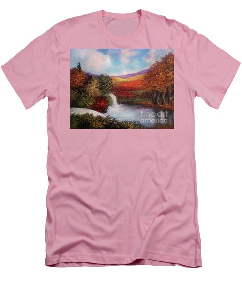 Men's T-Shirt (Slim Fit) featuring the painting Autumn In The Garden Of Eden by Randol Burns