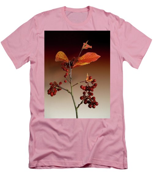 Men's T-Shirt (Slim Fit) featuring the photograph Autumn Leafs And Red Berries by David French