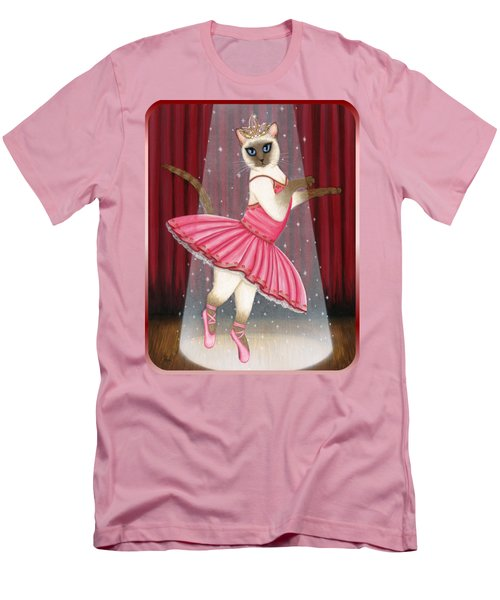Men's T-Shirt (Athletic Fit) featuring the painting Ballerina Cat - Dancing Siamese Cat by Carrie Hawks