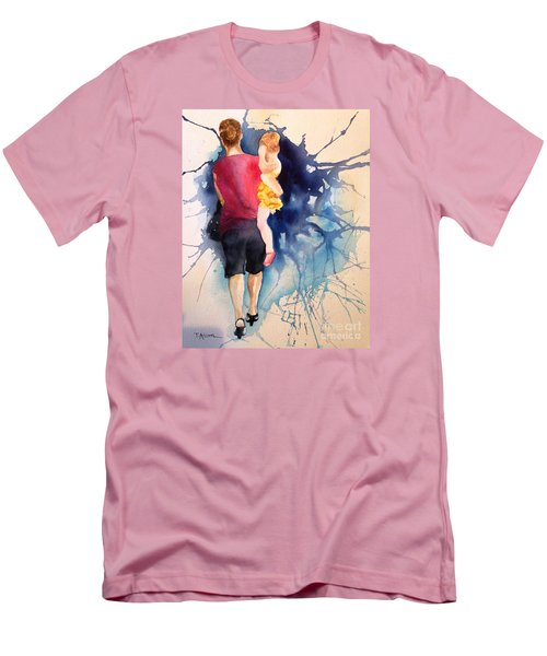Men's T-Shirt (Slim Fit) featuring the painting Ballet Mum - Original Sold by Therese Alcorn