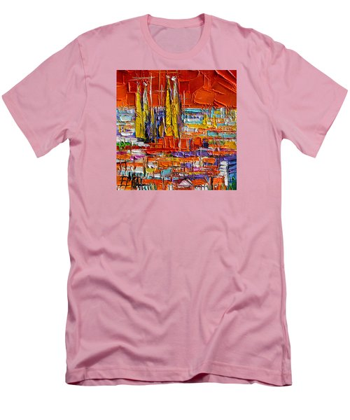 Barcelona View From Parc Guell - Abstract Miniature Men's T-Shirt (Slim Fit)
