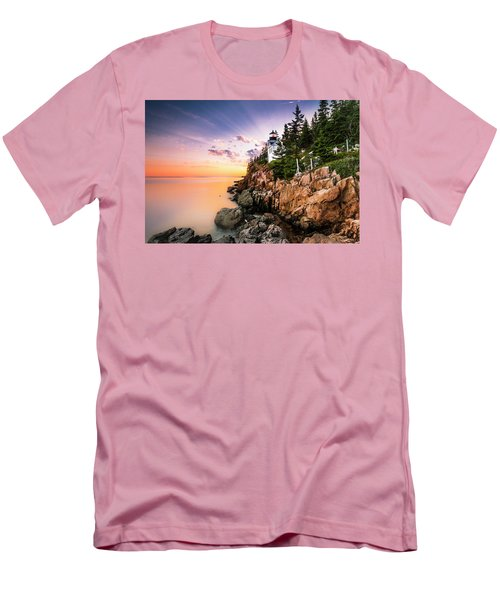 Bass Harbor Lighthouse Sunset Men's T-Shirt (Slim Fit) by Ranjay Mitra