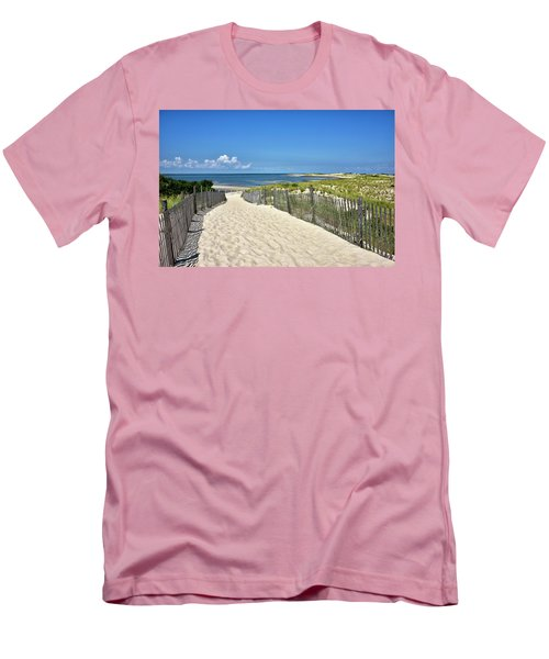 Men's T-Shirt (Slim Fit) featuring the photograph Beach Path At Cape Henlopen State Park - The Point - Delaware by Brendan Reals