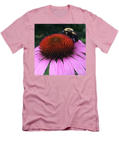 Bee On Flower By Saribelle Rodriguez Men's T-Shirt (Slim Fit) by Saribelle Rodriguez