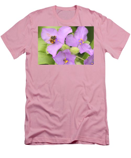 Men's T-Shirt (Slim Fit) featuring the photograph Bee On Purple Spiderwort by Sheila Brown