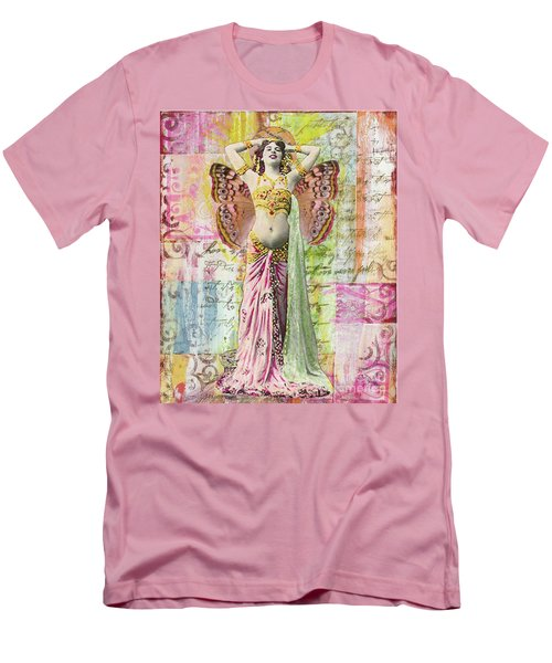 Men's T-Shirt (Slim Fit) featuring the mixed media Belly Dancer by Desiree Paquette