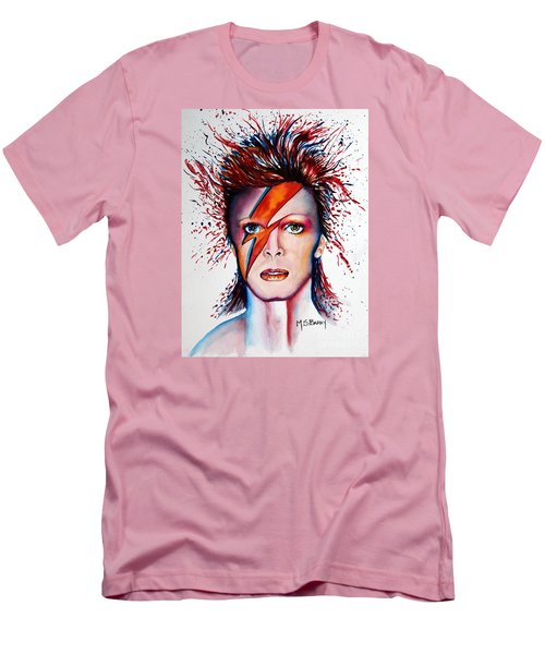 Men's T-Shirt (Slim Fit) featuring the painting Bi Bi Bowie by Maria Barry