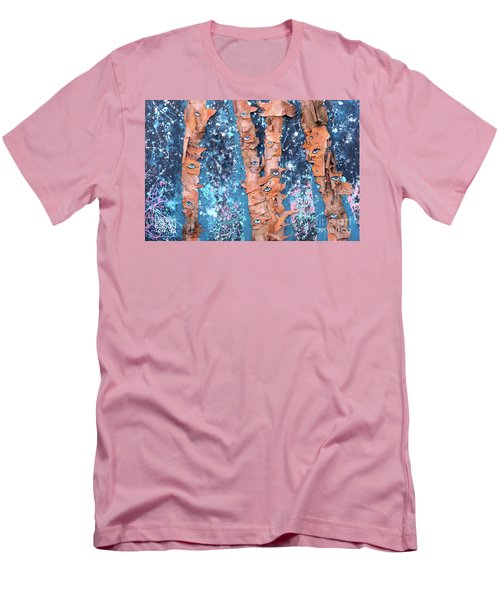 Men's T-Shirt (Slim Fit) featuring the mixed media Birch Trees With Eyes by Genevieve Esson
