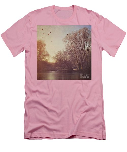 Men's T-Shirt (Slim Fit) featuring the photograph Birds Take Flight Over Lake On A Winters Morning by Lyn Randle