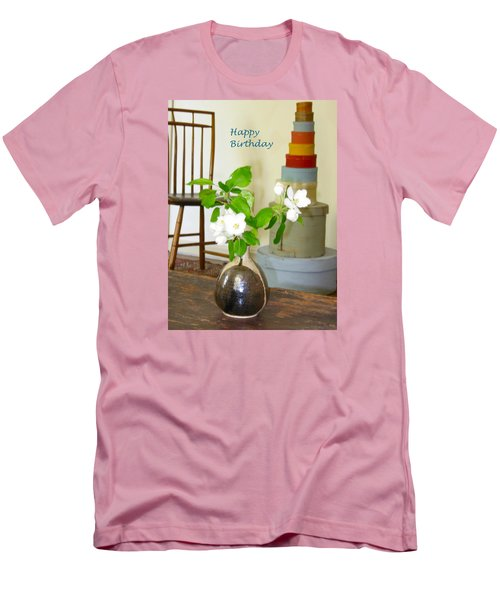Birthday Apple Blossoms Men's T-Shirt (Slim Fit) by Deborah Dendler