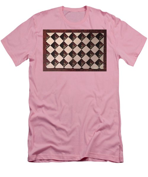 Black And White Checkered Floor Cloth Men's T-Shirt (Slim Fit) by Judith Espinoza