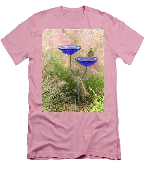 Blue Bird Bath Men's T-Shirt (Slim Fit) by Rosalie Scanlon