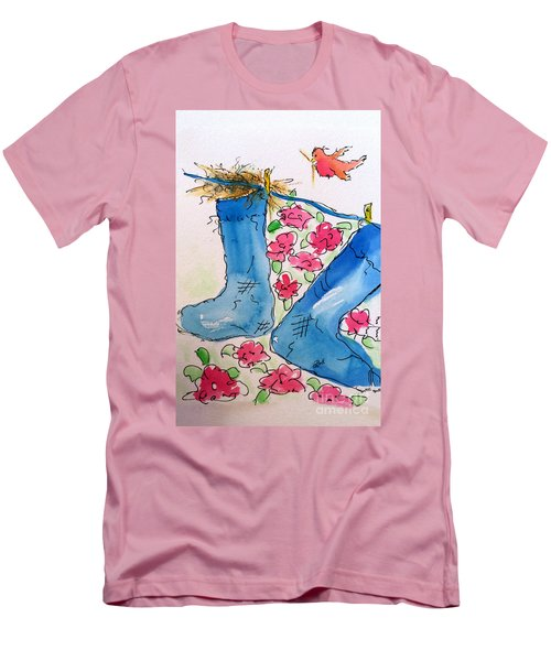 Men's T-Shirt (Athletic Fit) featuring the painting Blue Stockings by Claire Bull