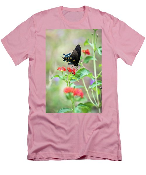 Men's T-Shirt (Athletic Fit) featuring the photograph Blue Swallowtail  by Saija Lehtonen