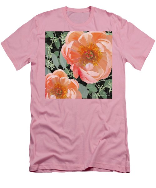 Men's T-Shirt (Athletic Fit) featuring the painting Bold Peony Seeded Eucalyptus Leaves by Audrey Jeanne Roberts