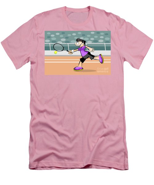 Boy Wearing Violet T-shirt Plays Tennis On Red Brick Court Men's T-Shirt (Athletic Fit)
