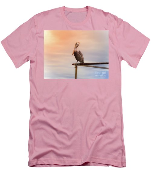 Men's T-Shirt (Slim Fit) featuring the photograph Brown Pelican Sunset by Robert Frederick