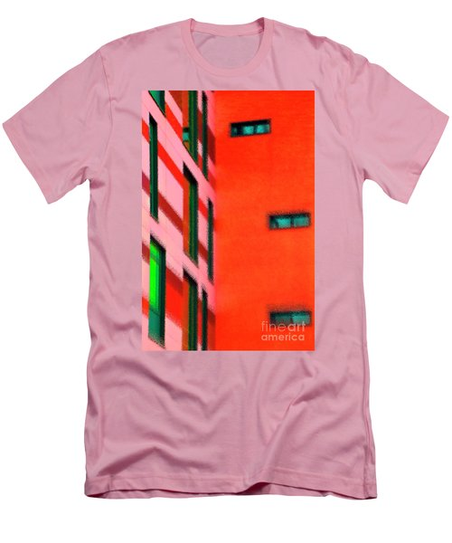 Men's T-Shirt (Athletic Fit) featuring the digital art Building Block - Red by Wendy Wilton
