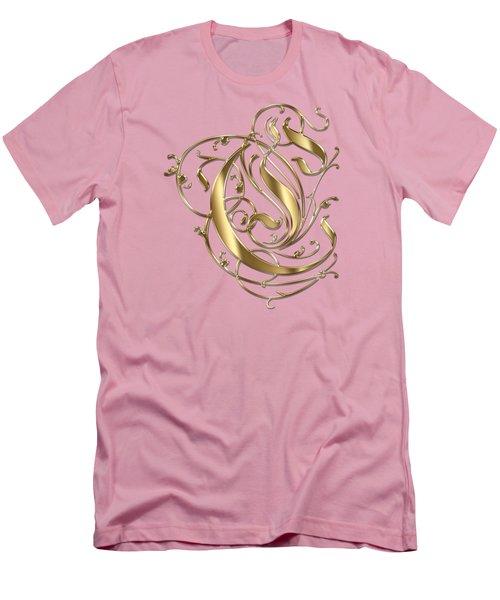 C Ornamental Letter Gold Typography Men's T-Shirt (Slim Fit) by Georgeta Blanaru