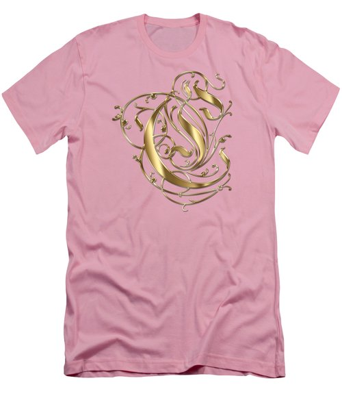 C Ornamental Letter Gold Typography Men's T-Shirt (Athletic Fit)