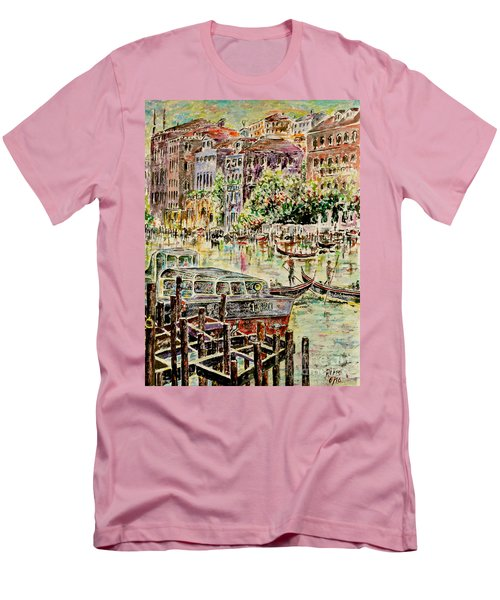 Men's T-Shirt (Slim Fit) featuring the painting Canale Grande by Alfred Motzer