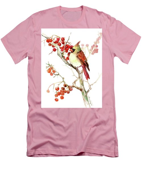 Cardinal Bird And Berries Men's T-Shirt (Athletic Fit)