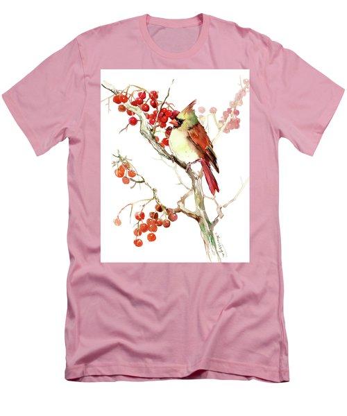 Cardinal Bird And Berries Men's T-Shirt (Athletic Fit)
