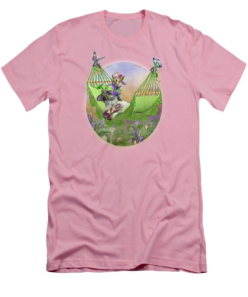 Men's T-Shirt (Slim Fit) featuring the mixed media Cat In Calla Lily Hat by Carol Cavalaris