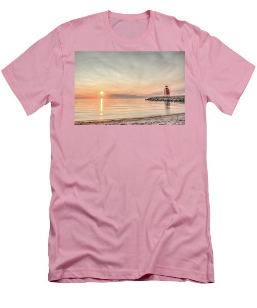 Men's T-Shirt (Slim Fit) featuring the photograph Charelvoix Lighthouse In Charlevoix, Michigan by Peter Ciro