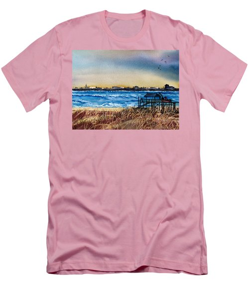 Men's T-Shirt (Slim Fit) featuring the painting Charleston At Sunset by Lil Taylor