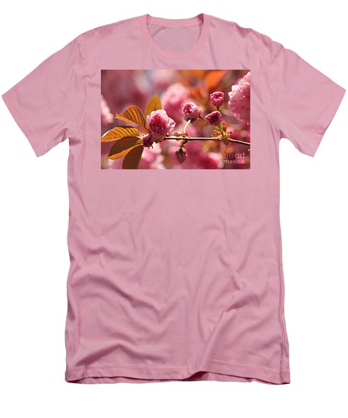 Cherry Blossoms Men's T-Shirt (Slim Fit) by Judy Palkimas