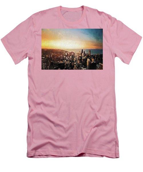 Men's T-Shirt (Athletic Fit) featuring the digital art Chicago Skyline by PixBreak Art