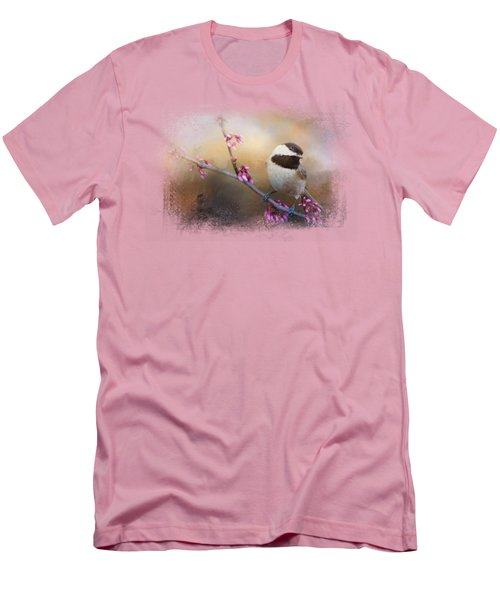 Chickadee And Pink Blooms Men's T-Shirt (Athletic Fit)