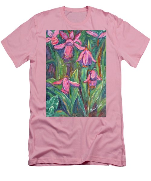 Men's T-Shirt (Slim Fit) featuring the painting Chinese Orchids by Kendall Kessler