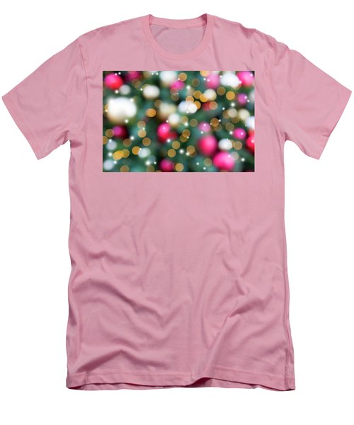 Christmas Holiday Tree Decoration Blurred Bokeh With Sparkles Men's T-Shirt (Athletic Fit)