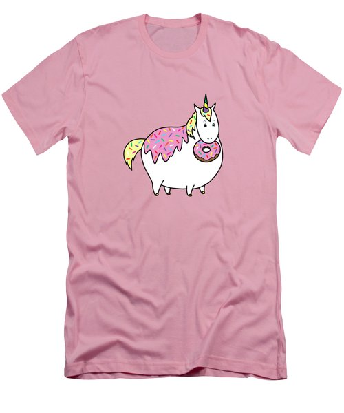 Chubby Unicorn Eating Sprinkle Doughnut Men's T-Shirt (Slim Fit) by Crista Forest